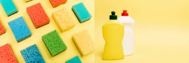 Collage of sponges and bottles of dishwashing liquid on yellow background, banner