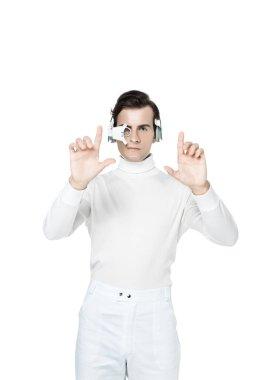 Brunette cyborg in digital eye lens and headphones using something isolated on white stock vector