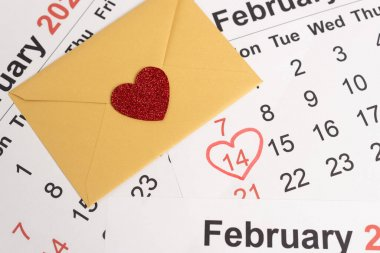 Envelope with heart on February calendar stock vector