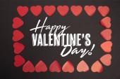 felső nézet boldog Valentin napi betű keretén belül a szív a fekete