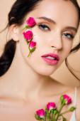 smyslná žena s květinami na tváři při pohledu na kameru izolované na růžové