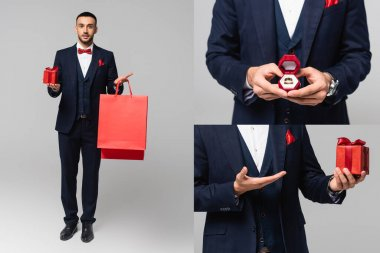 Collage of elegant hispanic man holding shopping bags and jewelry box, and pointing at valentines day present on grey stock vector