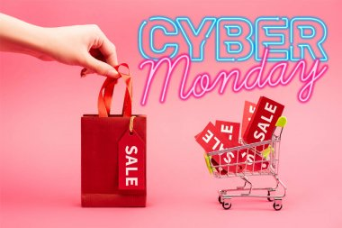 Cropped view of woman holding small shopping bag near cart with sale tags near cyber monday lettering on pink stock vector