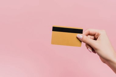 Partial view of woman holding credit card in hand isolated on pink stock vector