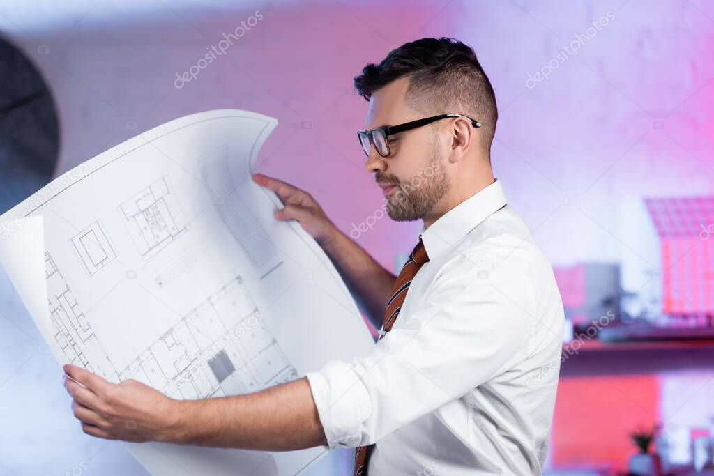 Architect in eyeglasses looking at blueprint in architectural agency stock vector