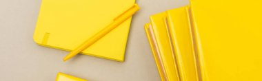 Top view of yellow notebooks near pen isolated on grey, banner stock vector