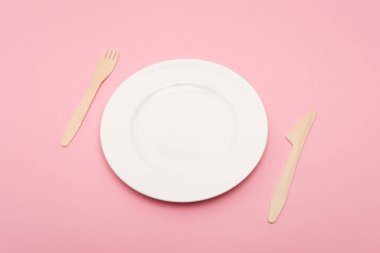 Disposable wooden cutlery near white plate isolated on pink stock vector