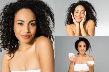 Collage of african american woman with clean skin smiling and holding cosmetic cream isolated on grey stock vector