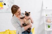 Veselá žena drží siamskou kočku doma