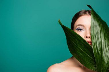 Sensual young woman looking at camera near wet leaf isolated on green stock vector
