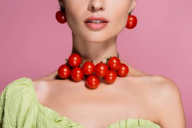 Partial view of young woman in red cherry tomatoes earrings and necklace isolated on pink stock vector