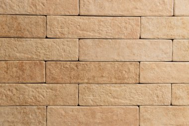 Background of pale brown wall, made of natural bricks, top view stock vector