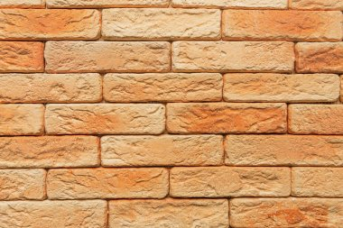Bright, orange brick wall background, top view stock vector