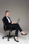 Érett üzletasszony használja laptop irodai szék szürke háttér