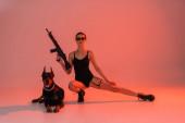sexy žena pózuje s puškou v blízkosti doberman pes na růžovém pozadí se žlutým světlem