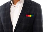 vágott afro-amerikai üzletember zsebkendővel szivárvány színek elszigetelt fehér, lgbt koncepció