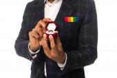 levágott kilátás afro-amerikai férfi zsebkendővel lgbt színek mutatja jegygyűrű elszigetelt fehér