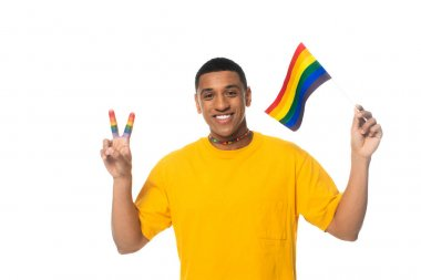 African american man holding lgbt flag and showing victory gesture isolated on white stock vector