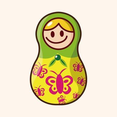 Matryoshka , Russian traditional wooden doll, vector pattern, el