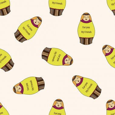 Russian traditional wooden dolle, cartoon seamless pattern background