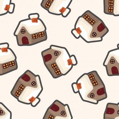 Gingerbread house , cartoon seamless pattern background