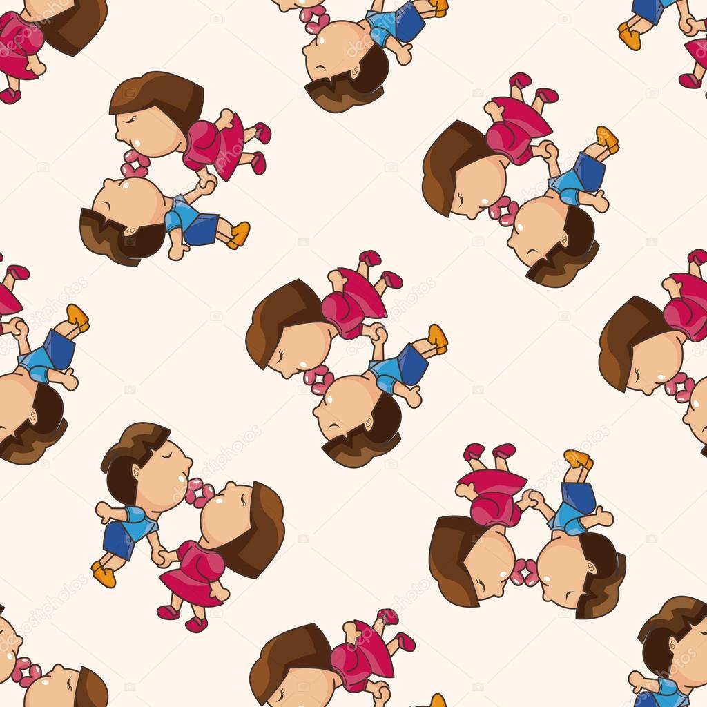 Valentine S Day Couple Cartoon Seamless Pattern Background Stock