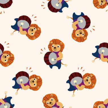 Musical animal lion icon 10,seamless pattern