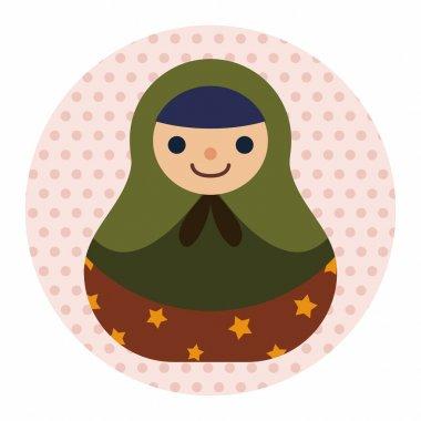 Matryoshka , Russian traditional wooden doll, vector pattern, fl