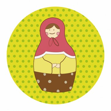 Matryoshka , Russian traditional wooden doll, vector pattern, el