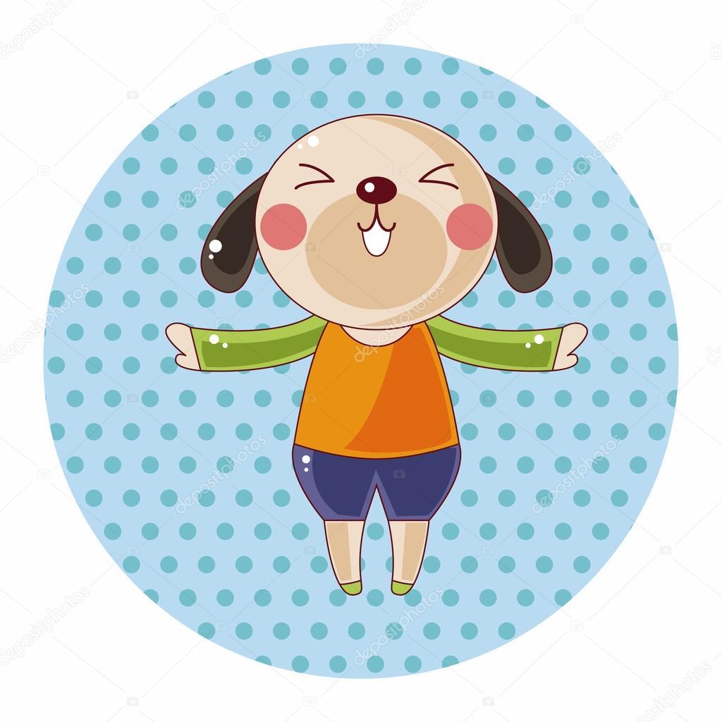 Elementi di tema animale cane cartone animato — vettoriali