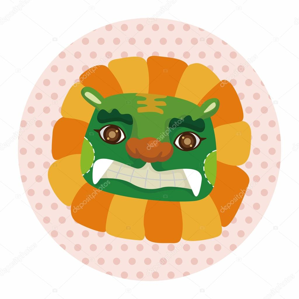 chinese new year theme elements the dragon and lion dancing hea stock vector