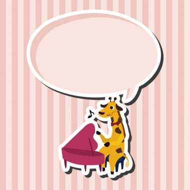 muscial animal giraffe flat icon elements background,eps10