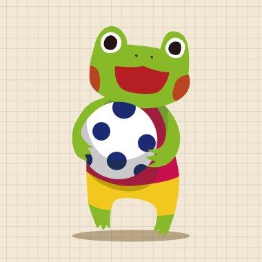 summer animal frog flat icon elements background,eps10