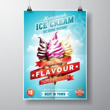 Vector delicious Ice Cream Flyer Design on sky background.