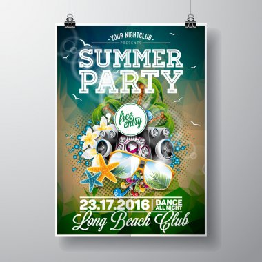 Vector Summer Beach Party Flyer Design with typographic and music elements on ocean landscape background.