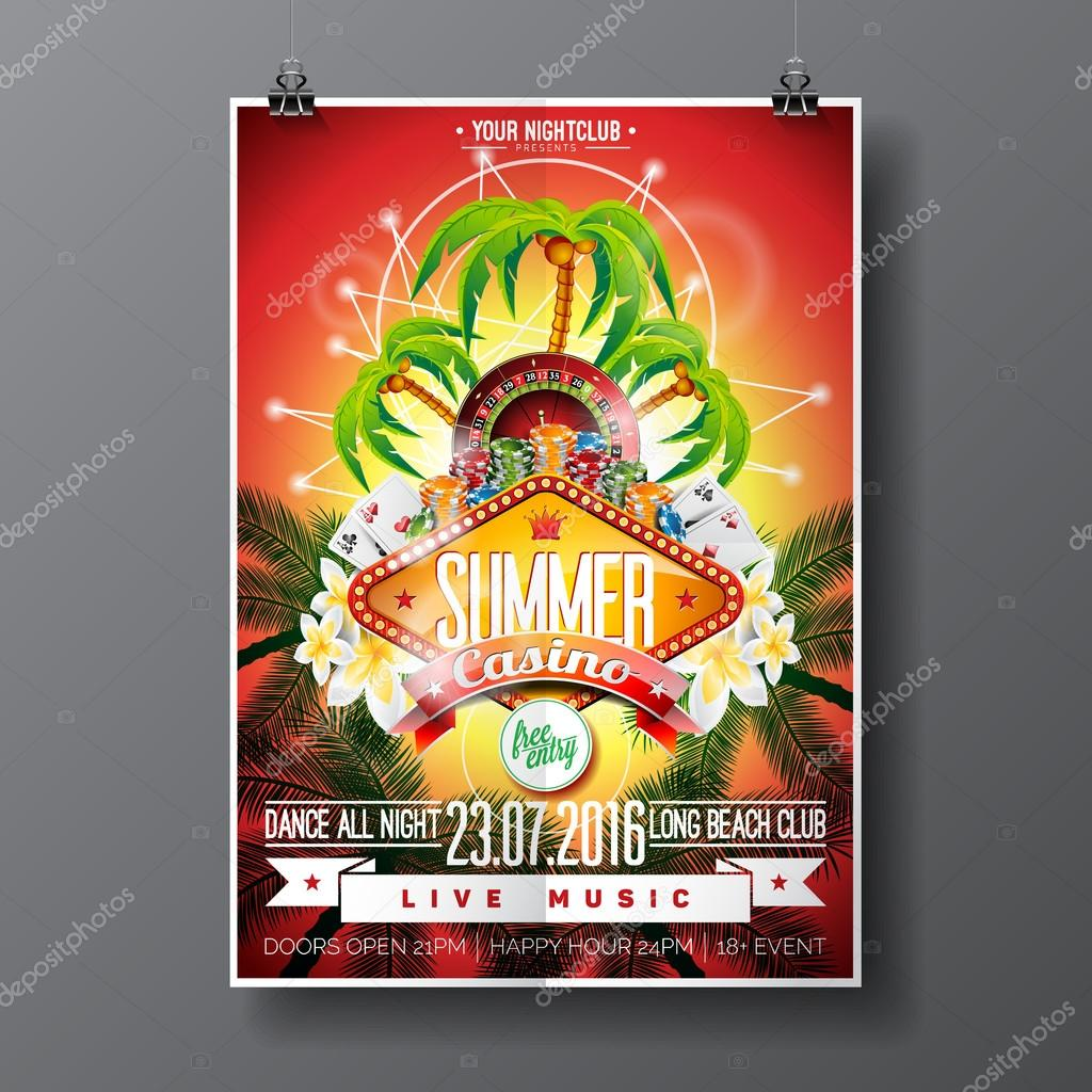 Vector Party Flyer design on a Casino theme with roulette wheel and game cards on palm background.