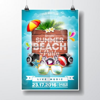 Vector Summer Beach Party Flyer Design with typographic elements on wood texture background. Summer nature floral elements and sunglasses.