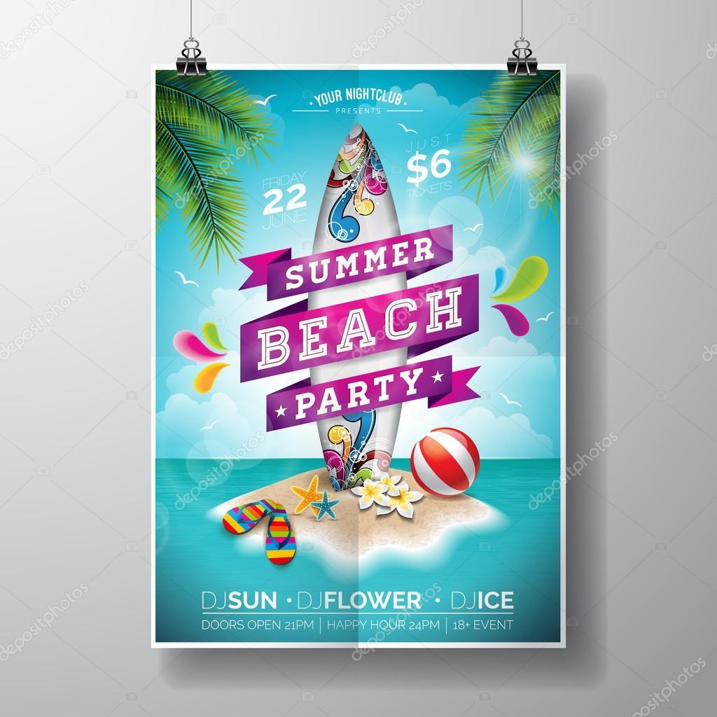 vector verão praia festa flyer design com surf ilha paraíso e placa