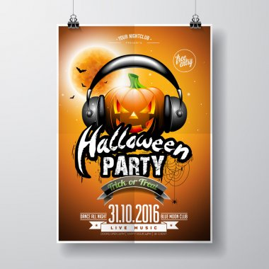 Vector Halloween Party Flyer Design with pumpkin and headphone on orange background. Bats and moon.