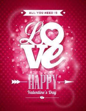 Vector Valentines Day illustration with Love typography design on shiny background.