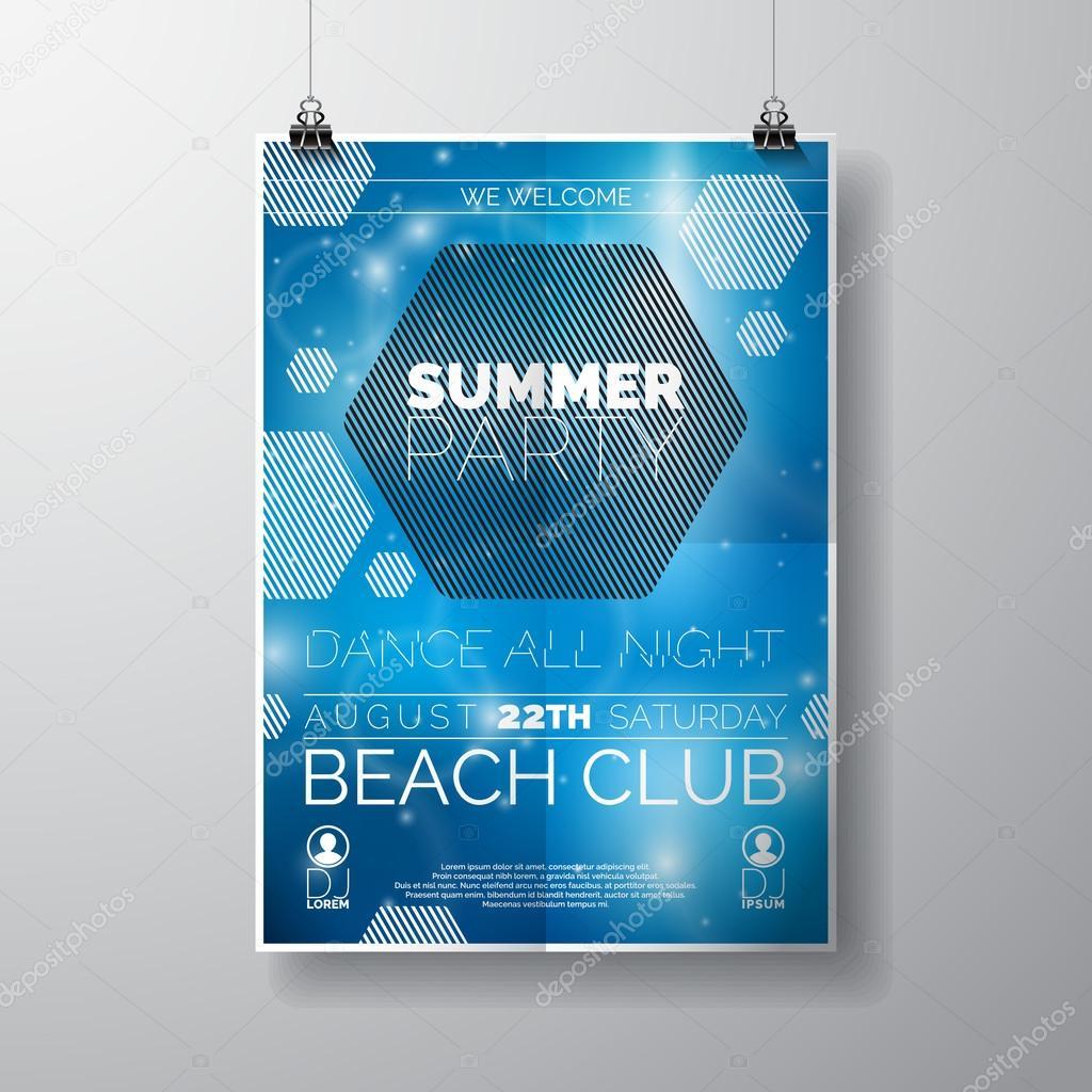 Plantilla de cartel vector Flyer de la fiesta con tema de playa de ...