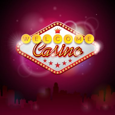 Vector illustration on a casino theme with lighting display and welcome text on purple background.
