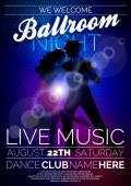 Fotografie Vektor Ballsaal Nacht Party Flyer-Design mit Paar tanzen Tango auf dunklem Hintergrund