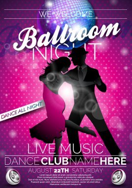 Vector Ballroom Night Party Flyer design with couple dancing tango on dark background