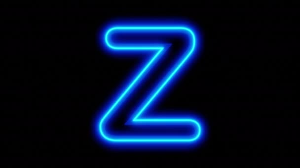Animált kék neon betű Z fekete háttérrel. Élénk animáció. 3D renderelés. 4K videó