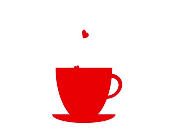 červený šálek kávy se srdcem