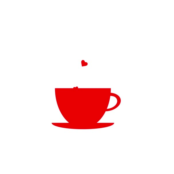 red cup of coffee with hearts