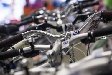 Bicycles in a bike shop.