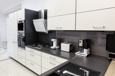 Modern hi-tek kitchen, clean interior design