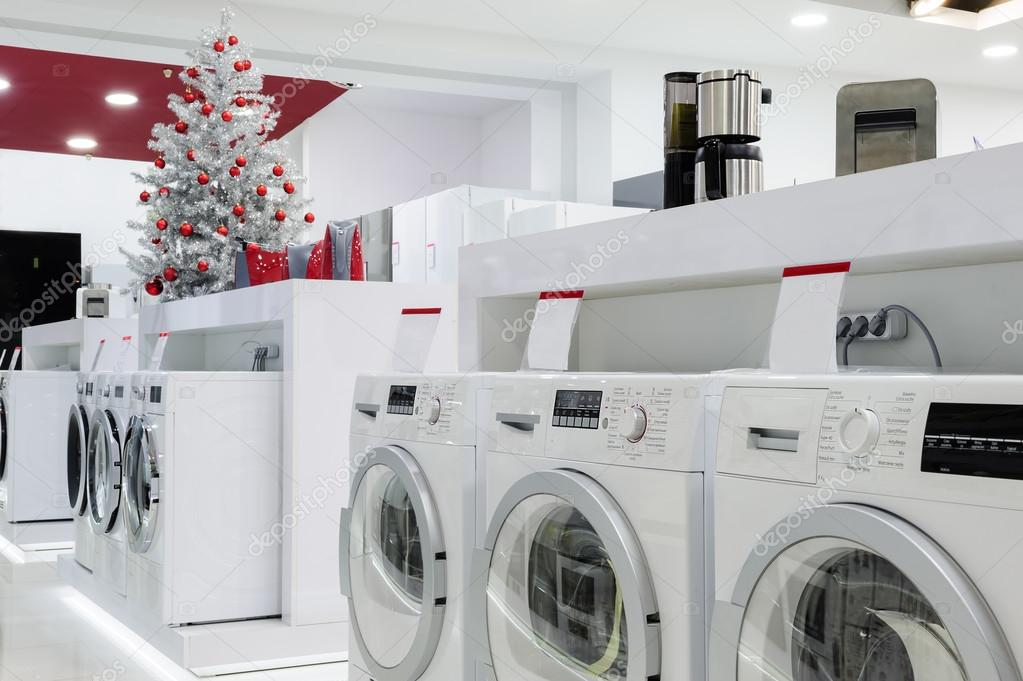Home appliances in the store at Christmas